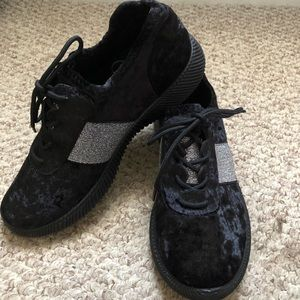 Black Crushed Velvet and Silver Sneakers